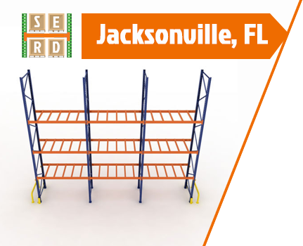 empty-teardrop-pallet-rack-with-orange-beam-and-column-protector-and-safety-barrier
