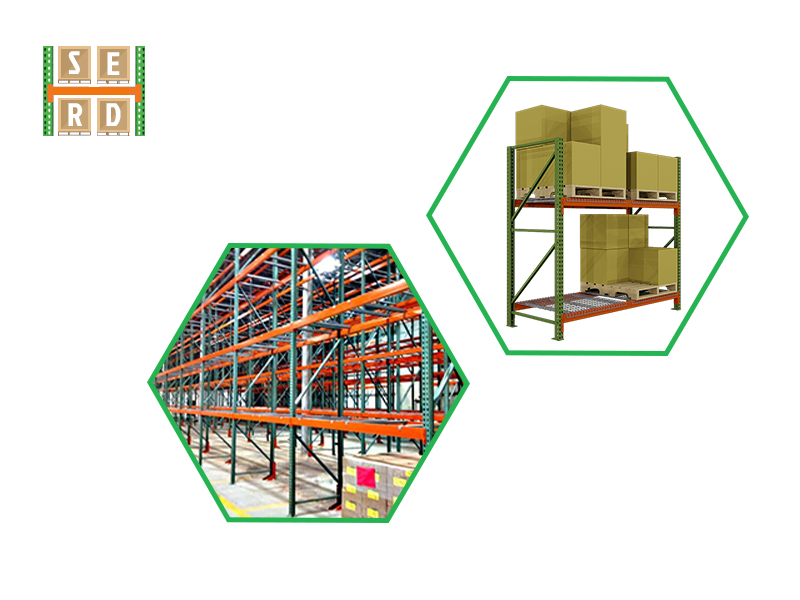 orange-and-blue-colored-beam-with-blue-and-orange-colored-pallet-rack-in-background