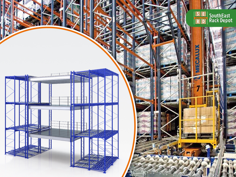 blue-sliding-mobile-wire-shelving-with-pallet-racks-being-stacked-in-a-warehouse-in-background