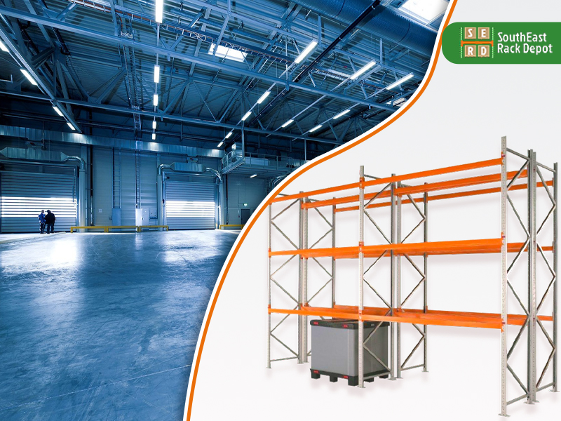 new-orange-pallet-rack-with-empty-warehouse-in-background