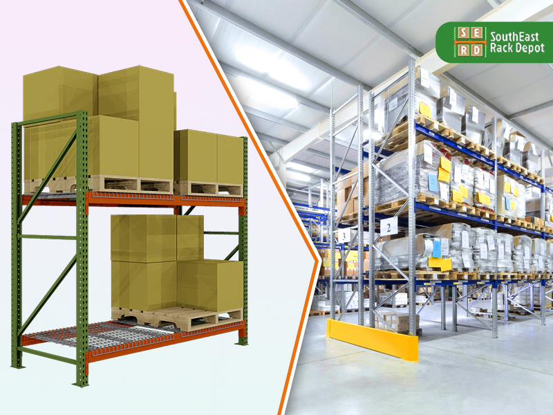 green-tear-drop-rack-with-silver-pallet-racks-with-storage-units-in-background
