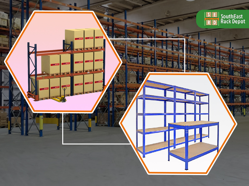 used-blue-and-red-pallet-racks-with-brown-boxes-stored-and-new-pallet-rack-with-warehouse-in-background