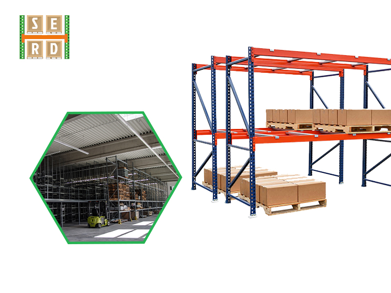 structural-steel-racks-with-storage-boxes-and-forklift-operating-in front-of-warehouse-racks