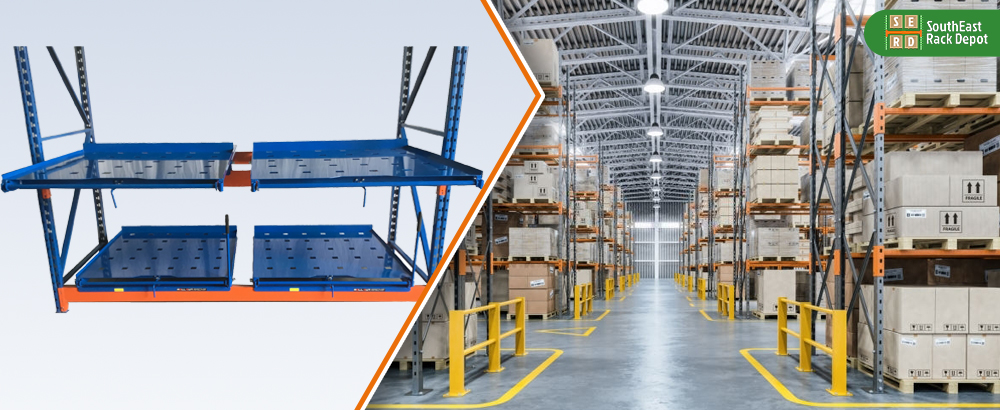 blue-and-red-roll-out-rack-with-warehouse-with-storage-pallet-racks-in-background Thumbnail Alt Text: