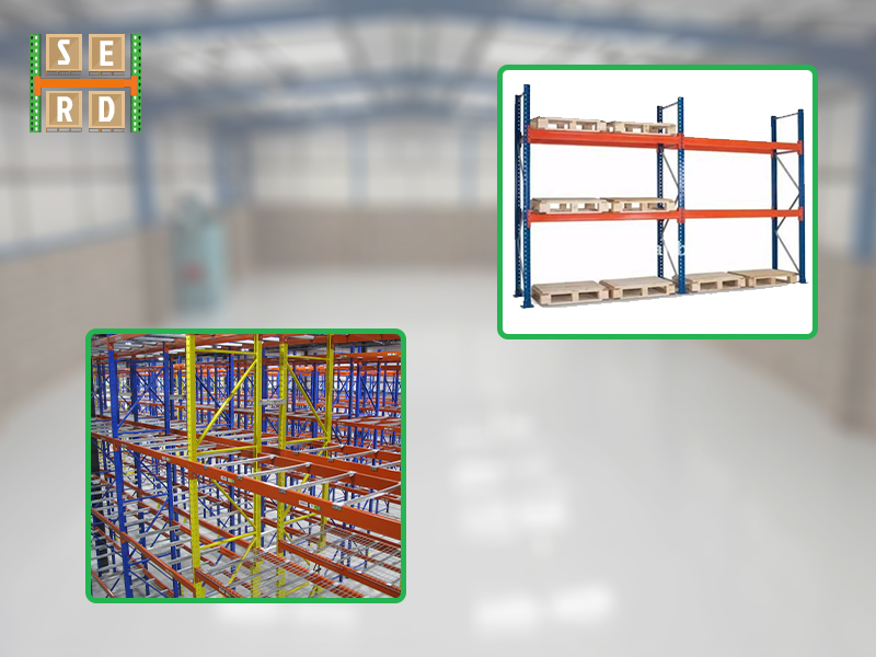 used-orange-colored-pallet--racks-with-orange-storage-boxes-and-blue-and-red-new-pallet-racks-in-background