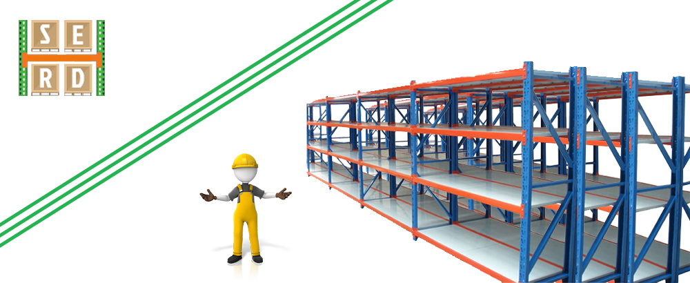 new-green-and-orange-colored-light-shelving-racks-with-red-and blue-pallet-racks-in-the-background